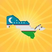 Uzbekistan map flag on sunburst illustration