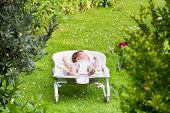 Newborn Baby Sleeping In A Bouncer In The Garden