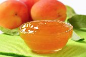 detail of apricot jam in glass bowl