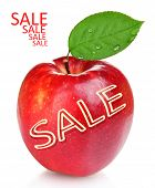 Sale concept. Juicy red apple isolated on white