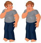 Happy Cartoon Man Standing In Blue Pants Barefoot