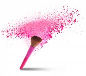 professional make-up brush with dust in motion.