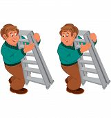 Happy Cartoon Man Standing In Green Shirt And Brown Pants Holding Ladder