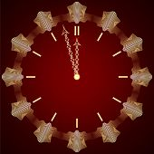 Vector abstract New Year golden clock on dark red background