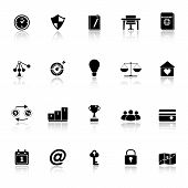 Thinking Related Icons With Reflect On White Background