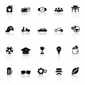 Normal Gentleman Icons With Reflect On White Background