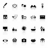 Health Behavior Icons With Reflect On White Background