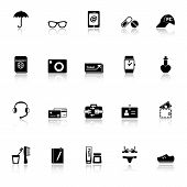 Travel Luggage Preparation Icons With Reflect On White Background