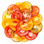 Abstract Background Of Healthy Natural Food  Colorful Tomato Slices, Fresh Organic Food, Isolated On