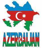 Azerbaijan map flag and text vector illustration