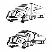 monochrome set of a truck with trailer and tank truck