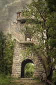 foto of gazebo  - Gazebo tower in a forest on grungy background - JPG