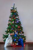 Decorated Christmas tree with presents under it