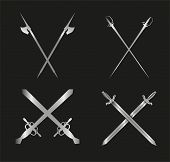 Swords and longswords set for heraldry design on black background
