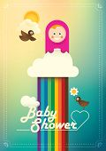 Comic baby shower poster in color. Vector illustration.