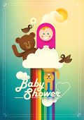 Comic baby shower illustration in color. Vector illustration.