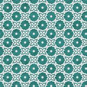Teal And White Flower Repeat Pattern Background