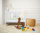 stock photo of wooden basket  - Empty nursery room with basket toys and wooden horse - JPG