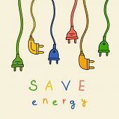 Electric plug in color. Save energy