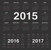 Vector Black Circle Calendars 2015, 2016, 2017
