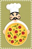 cartoon kichen chef holding pizza