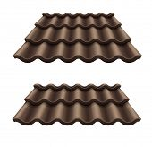 Dark chocolate corrugated tile element of roof. Eps10 vector illustration. Isolated on white background