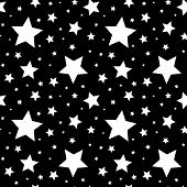 Seamless pattern with white stars on black. Vector illustration.