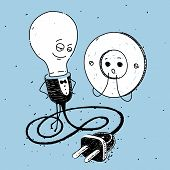 Lamp and socket, caricature