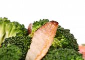 Closeup of fried ham and broccoli.
