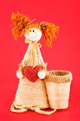 Soft Toy. Doll Made Of Straw.