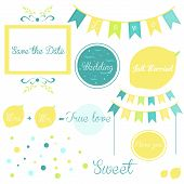 Elements of a wedding invitation in yellow and blue