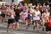 Runner Dressed In Stars & Stripes Runs In Atlanta Race