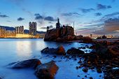 Hong Kong water bay and lighthouse at sunset,Yau Tong Lei Yue Mun