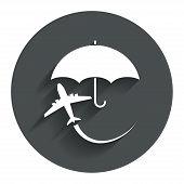 Flight insurance sign icon. Safe travel symbol.