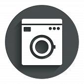 Washing machine icon. Home appliances symbol.