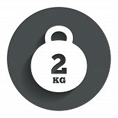 Weight sign icon. 2 kilogram (kg). Mail weight