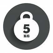 Weight sign icon. 5 kilogram (kg). Sport symbol