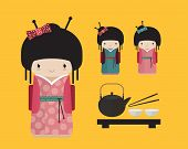 Kokeshi doll in kimono with traditional japanese food, tea ceremony.