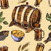 Beer retro seamless pattern