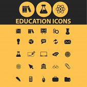 education, science icons, signs, illustrations, silhouettes set, vector
