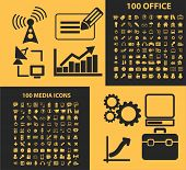 200 office, media icons, signs, illustrations, silhouettes set, vector