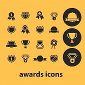 awards icons, signs, illustrations, silhouettes set, vector