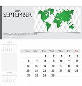 Simple 2015 calendar, September. Vector illustration.