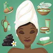 pic of black woman spa  - Spa healthcare salon wellness icons with beautiful black woman face vector illustration - JPG