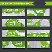 Discount banners green set