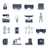 picture of solar battery  - Energy and electric industry icons black set with solar battery factory light bulb isolated vector illustration - JPG