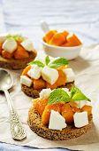 Rye Bruschetta With Honey Pumpkin And Goat Cheese