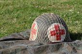Red cross military helmet