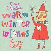Warm winter wishes card in vector. Funny Merry Christmas background. Funny cartoon Bear in holiday c