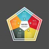 Cyclic diagram with five steps and icons. Infographic vector background. eps 10
